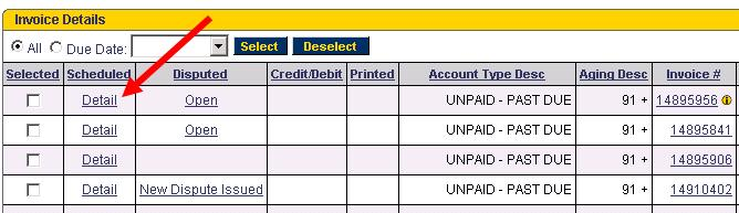 Invoice Details Table - Payment details on invoice
